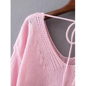 Cap Sleeve Lace Up Knitted Pullover -