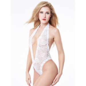 Halter Backless Lace Teddy -