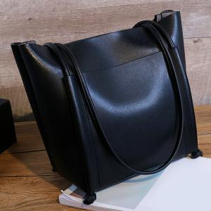 PU Leather Knots Stitching Shoulder Bag -