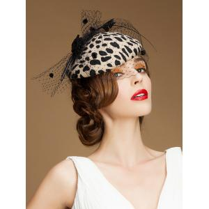 Sororal Party Polka Dot Veil Milk Cowskin Pillbox Hat -