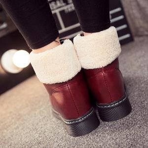 Winter Warm PU Leather Tie Up Ankle Boots -