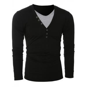 Button Embellished Round Neck Long Sleeves T-Shirt - BLACK 2XL
