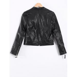 Topstitching Faux Leather Short Biker Jacket - BLACK XL