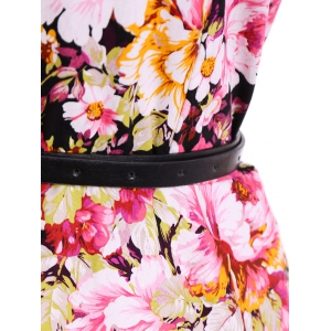 Belted Floral Fit and Flare Dress -