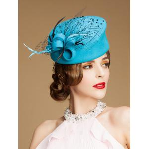 Sororal Party Fancy Feather Veil Beaded Pillbox Hat -