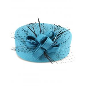Sororal Party Fancy Feather Veil Beaded Pillbox Hat - AZURE