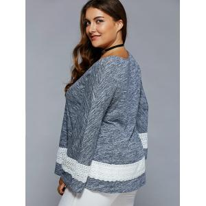 Plus Size Lace Insert Flare Sleeve Blouse - BLUE GRAY 3XL