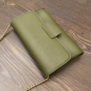 PU Leather Magnetic Closure Stitching Clutch Bag -