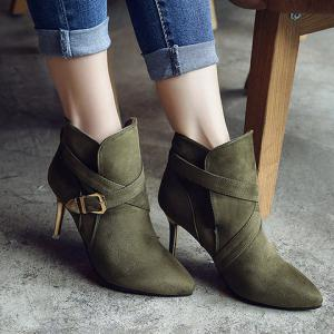 Stiletto Heel Point Toe Buckle Cross Strap Suede Ankle Boots - BLACKISH GREEN 39