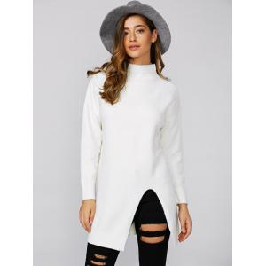 Loose Slit Long Knitwear - WHITE ONE SIZE