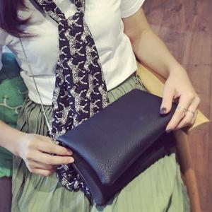 Magnetic Textured Leather Clutch Bag - BLACK