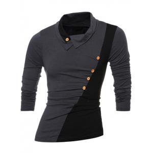 Button Embellished Turn-down Collar Insert T-Shirt - GRAY 2XL