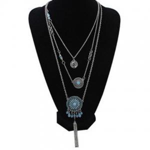 Layered Medallion Coin Pendant Necklace -