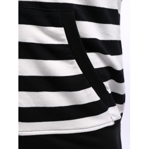 Striped Zip Up Black and White Hoodie men -