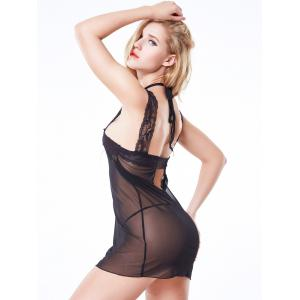 Lace Spliced Side Slit Mesh Babydoll -