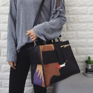 PU Leather Color Spliced Stitching Tote Bag -