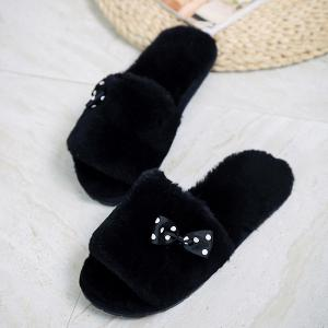 Bow ouvert Toe Furry Fleece Peluche Chaussons -
