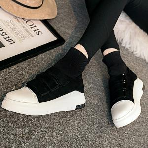 Hook and Loop Suede Knitted Ankle Boots -