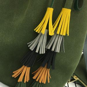 Tassels Drawstring Dark Colour Crossbody Bag -