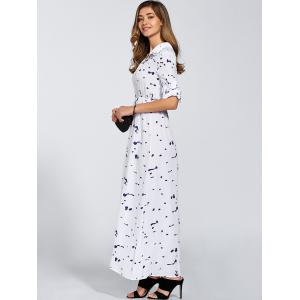 Buttoned High Waist Printed Maxi Dress -