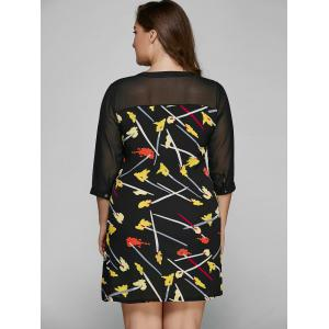 Plus Size Fall Chiffon Paintbrush Print Dress -