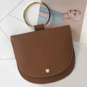 Faux Leather Metal Ring Crossbody Bag -