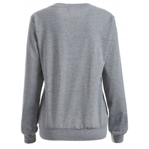 Casual Cat Print Loose Sweatshirt - GRAY XL