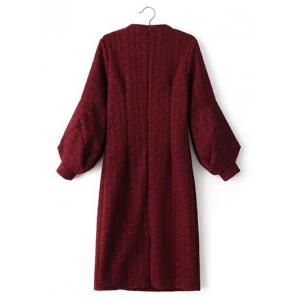 Cable Knitted Lantern Sleeve Slimming Jumper Dress - WINE RED L