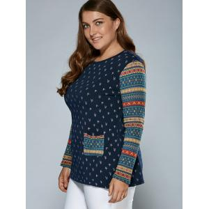Tribal Sleeve Tree Top With Pockets - BLUE 4XL