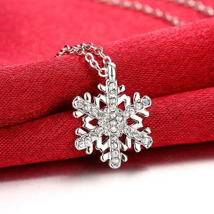 Polished Rhinestone Snowflake Pendant Necklace - SILVER