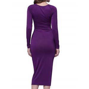 Ruched Keyhole Bodycon Midi Dress with Long Sleeve -