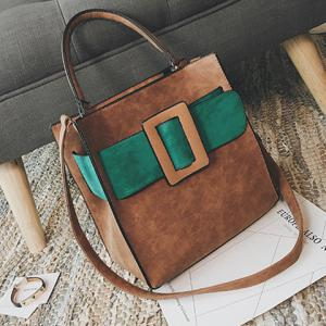 Colour Spliced PU Leather Buckle Tote Bag -