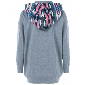 Drop Shoulder Print Trim Drawstring Hoodie -