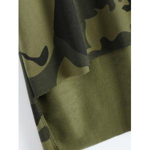 Hooded High-Low Army Camouflage T-Shirt -