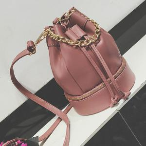 Zipper Drawstring Chain Crossbody Bag -