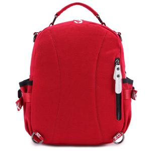 Buckle Strap Printed Canvas Backpack -