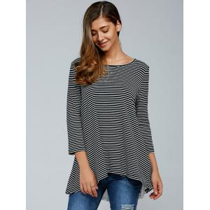 Striped Lace Up Blouse - STRIPE XL
