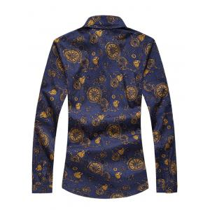 Plus Size Pocket Watch Print Long Sleeve Shirt -
