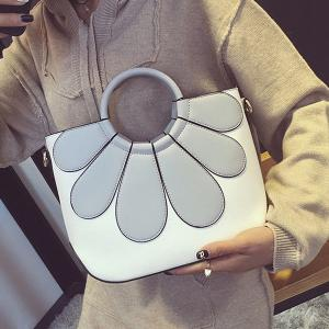 Stitching Flower Pattern Color Block Tote Bag -