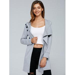 Inclined Button Front Slit Hoodie - LIGHT GRAY L