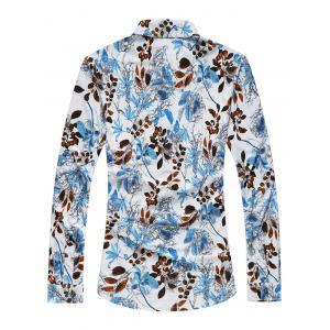 Plus Size 3D Leaves Print Long Sleeve Shirt -