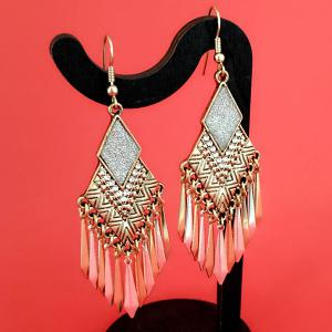 Rhinestone Rhombus Tassel Drop Earrings - GOLDEN