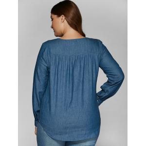 Plus Size Lace Insert Denim Blouse -