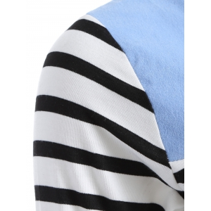 Casual Striped Color Block Dress - BLUE XL