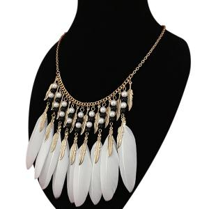Leaf Feather Beads Pendant Necklace - WHITE