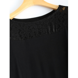 Casual Openwork Lace Patch Long T-Shirt -