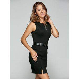 Belted Split Bodycon Dress -
