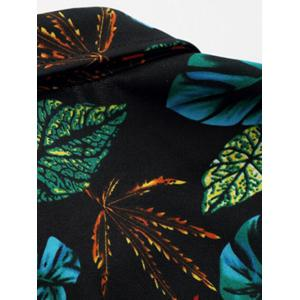 Plus Size 3D Colorful Leaves Print Long Sleeve Shirt - COLORMIX M