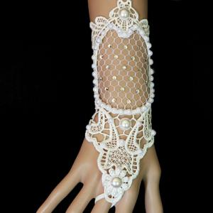Faux Pearl Rhinestone Lace Up Glove Bracelet -
