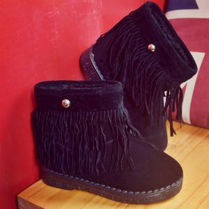 Metal Fring Flock Boots -